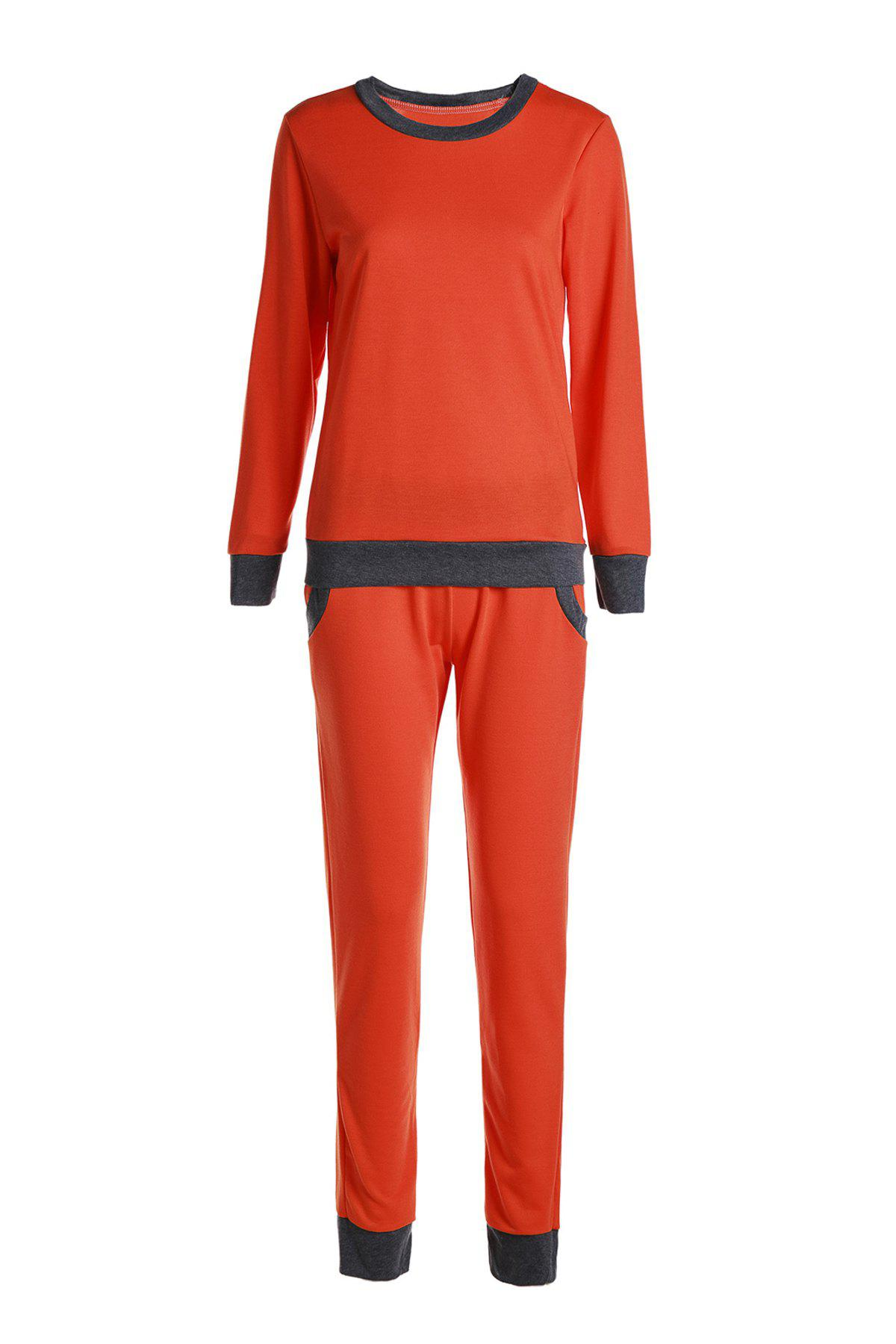 Casual col rond manches longues Activewear de poche design Color Block Femmes Suit - Tangerine L