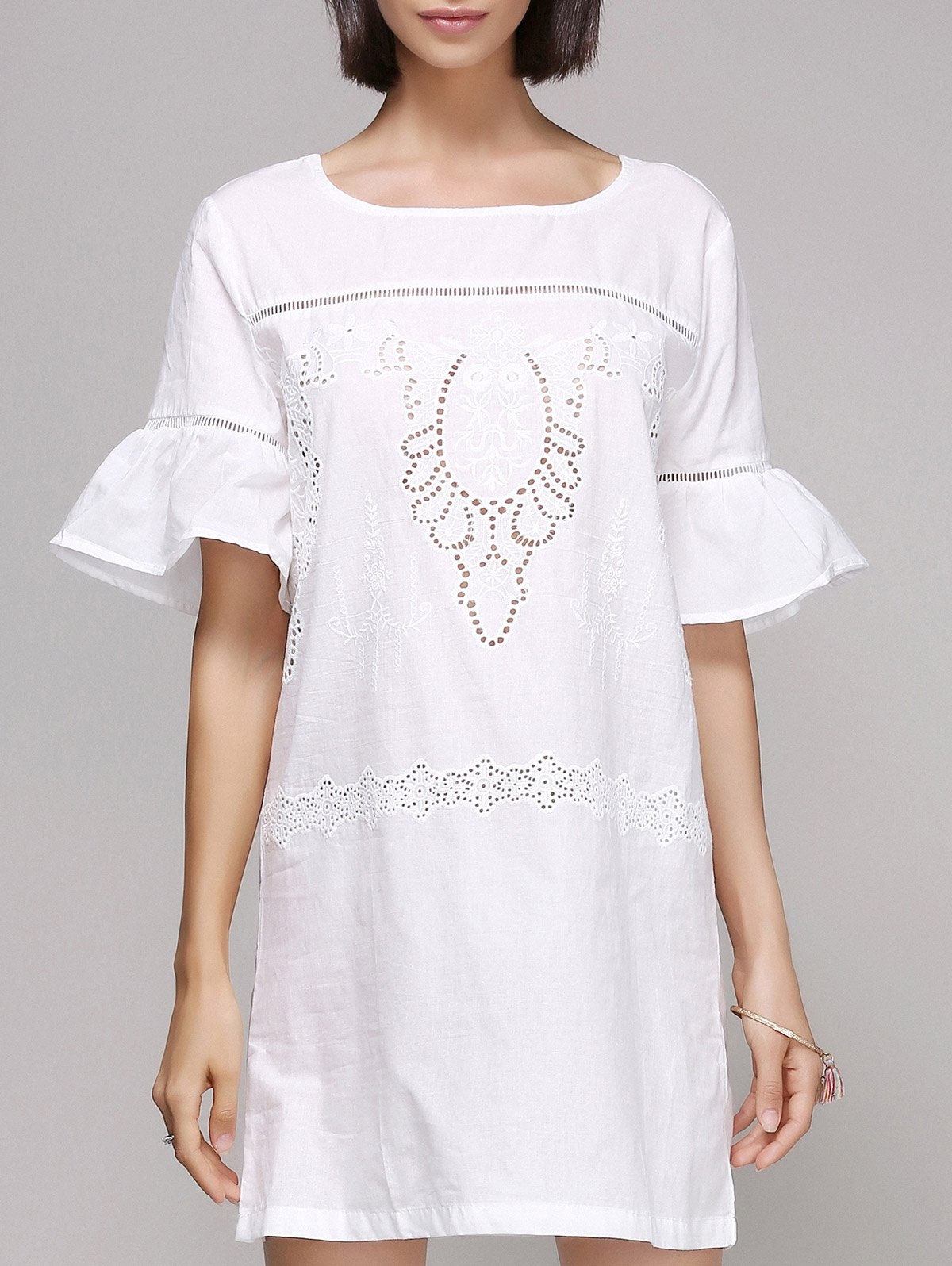 Stylish Flare Sleeve Embroidery Dress For Women - WHITE S