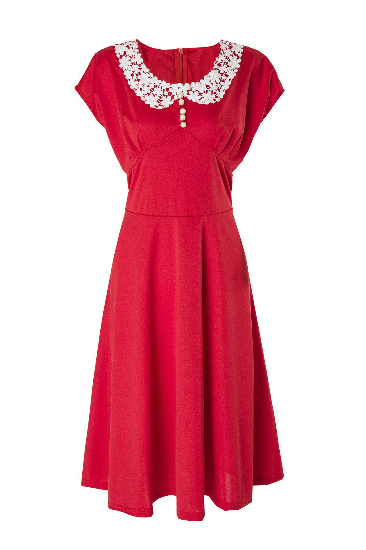 Vintage Cap Sleeve Peter Pan Collar Lace Crochet Women's Dress - RED L