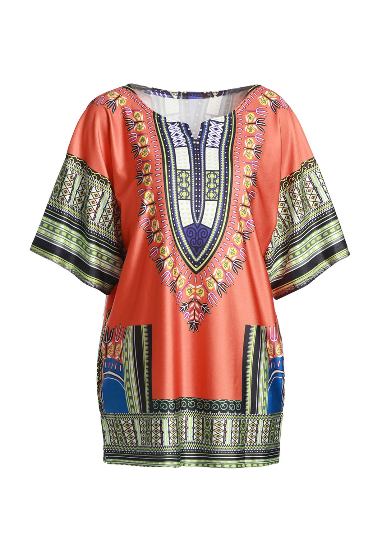 Ethnic Style 1/2 Sleeve Colorful Printed Loose Dress For Women - ORANGE L