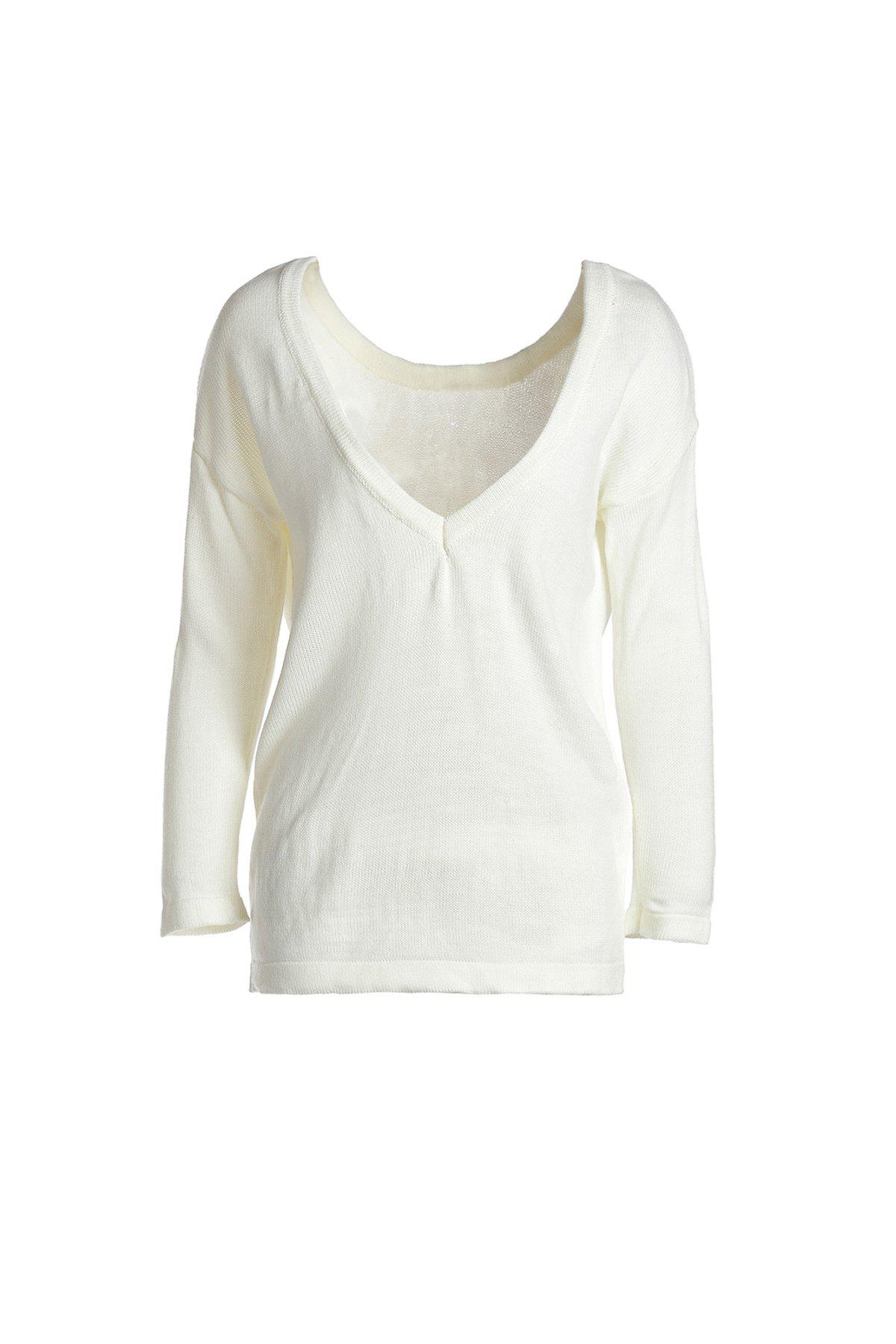 Stylish Long Sleeve Round Neck Loose-Fitting Backless Womens KnitwearWomen<br><br><br>Size: L<br>Color: MILK WHITE