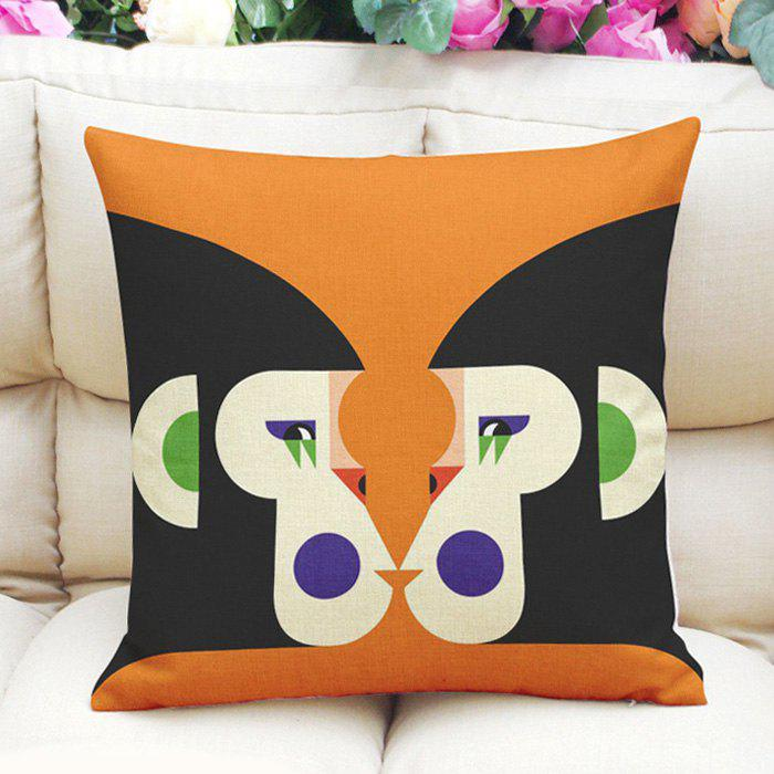 Stylish Geometric Monkey Pattern Square Shape Flax Pillow Case (Without Pillow Inner) - ORANGE