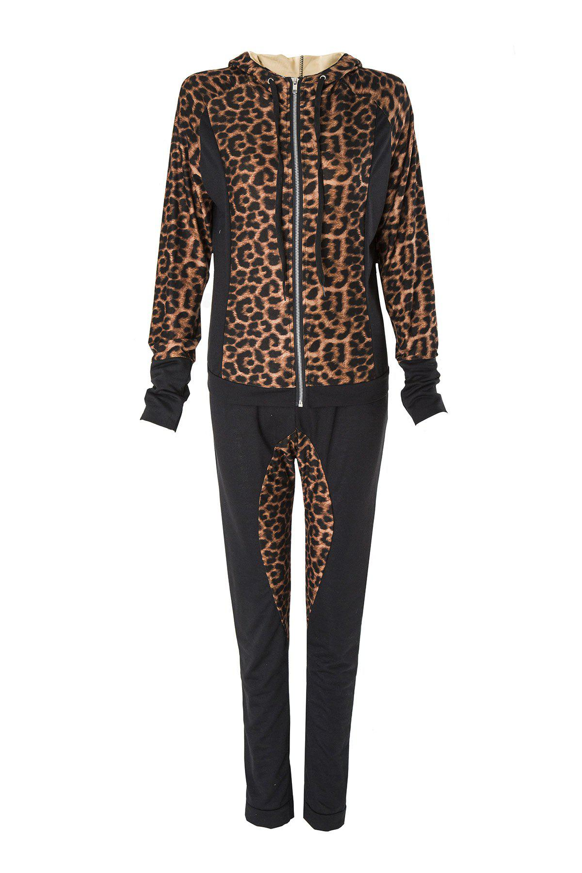 Stylish Long Sleeve Hooded Leopard Print Hoodie + Drawstring Pants Women's Twinset - BLACK XL