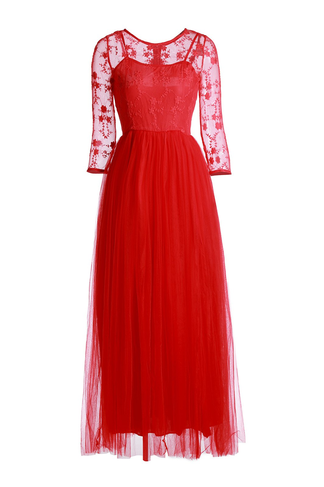 Elegant Round Neck Floral Embroidery Spliced Voile 3/4 Sleeve Women's Maxi Dress - RED XL