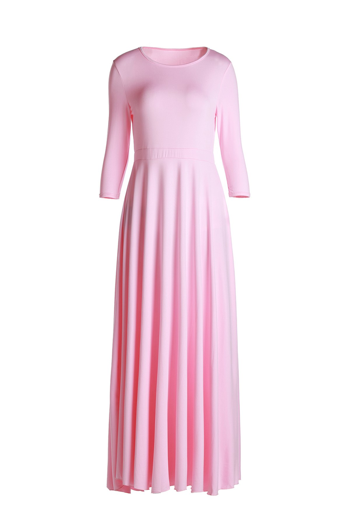 Elegant Pink Round Collar 3/4 Sleeve Dress For Women - PINK L