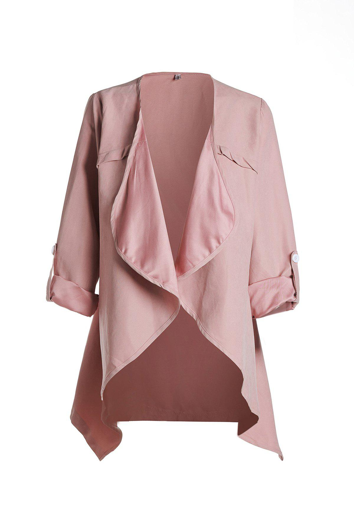 Trendy Long Sleeve Turn-Down Collar Solid Color Women's Coat - 2XL PINK