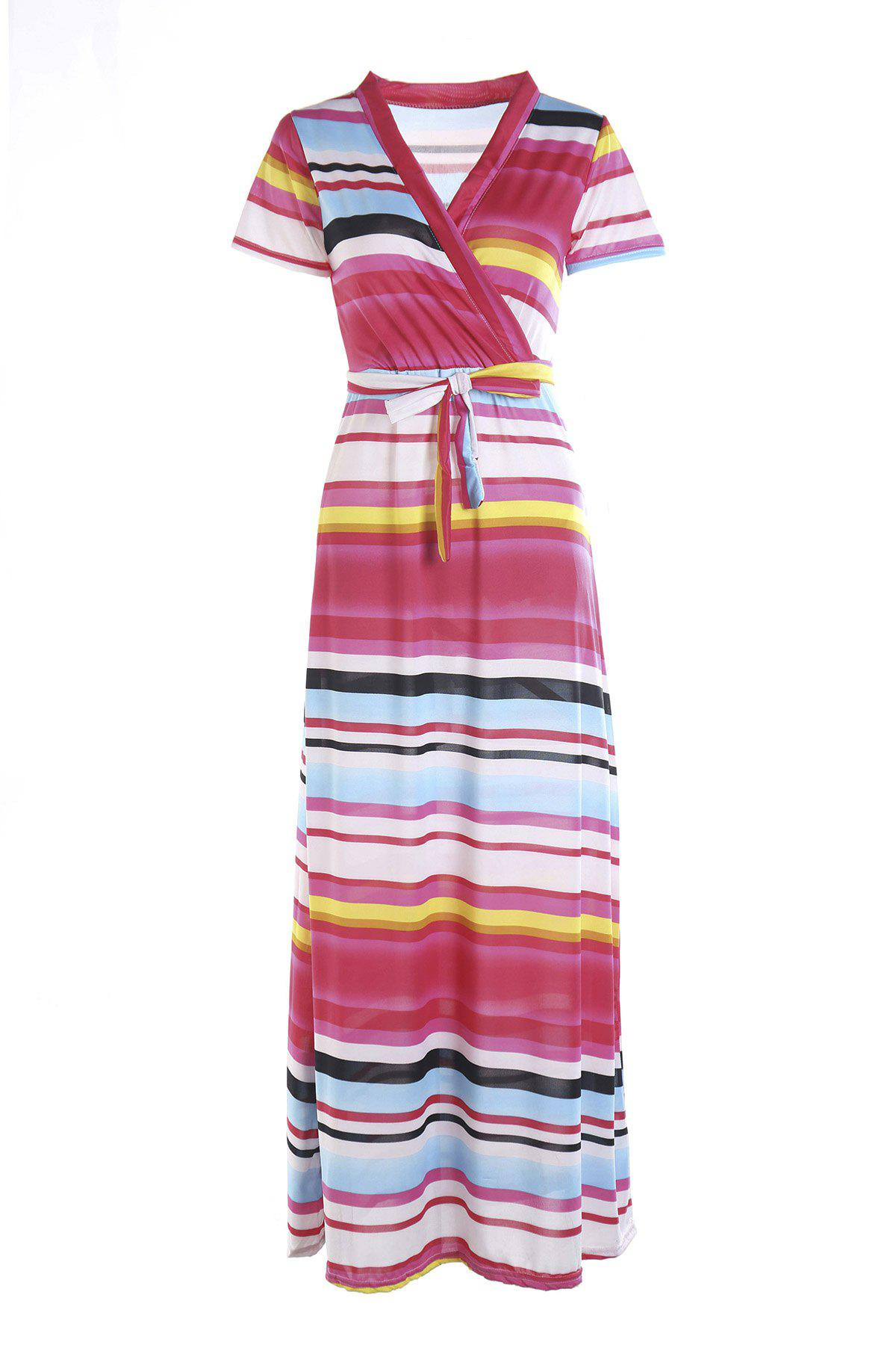 Alluring Short Sleeves Plunging Neck Striped Womens Maxi Dress