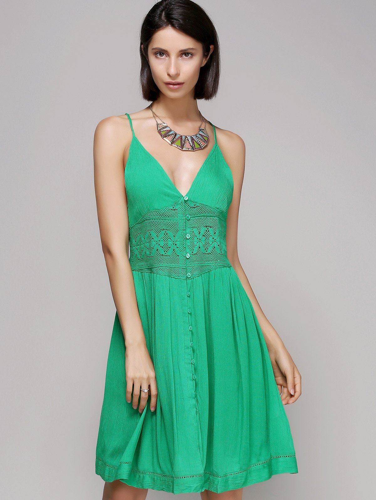 Stylish Laced Plunging Neck Sleeveless Dress For Women - GREEN L