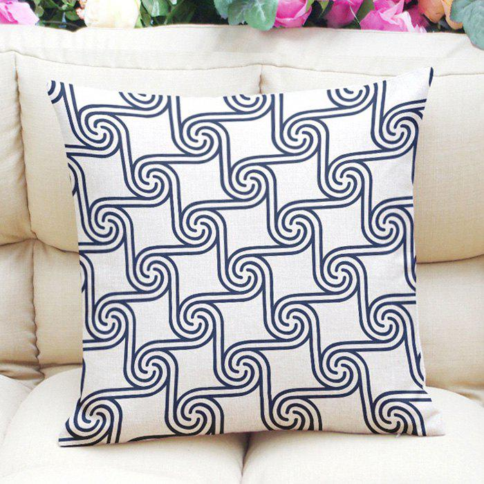 Simple Style Pattern Square Shape Flax Pillow Case (Without Pillow Inner) - PURPLISH BLUE