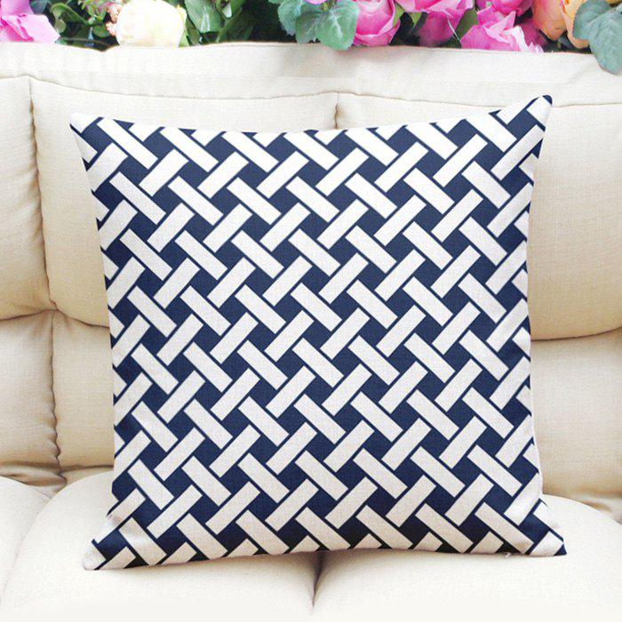 New Style Crossed Stripe Pattern Square Shape Flax Pillow Case (Without Pillow Inner) - PURPLISH BLUE