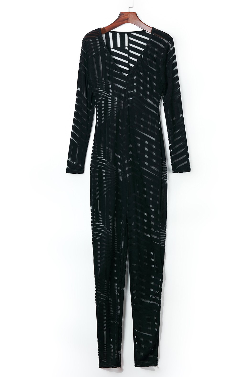 Sexy Plunging Neck Striped See-Through Long Sleeve Women's Jumpsuit sexy plunging neck half sleeve see through lace splicing black jumpsuit for women