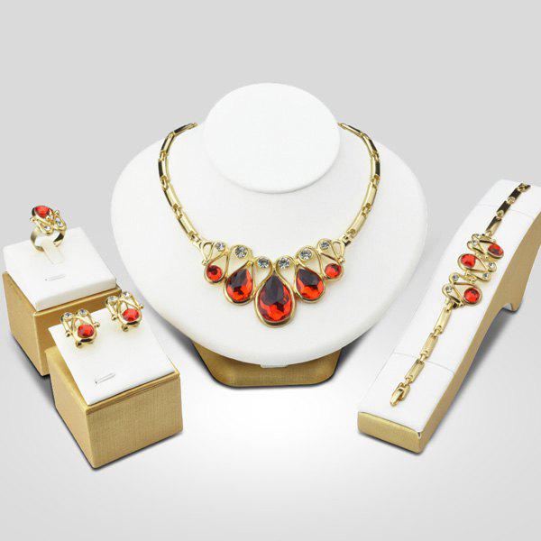 A Suit of Faux Ruby Statement Necklace Bracelet Ring Earrings - RED