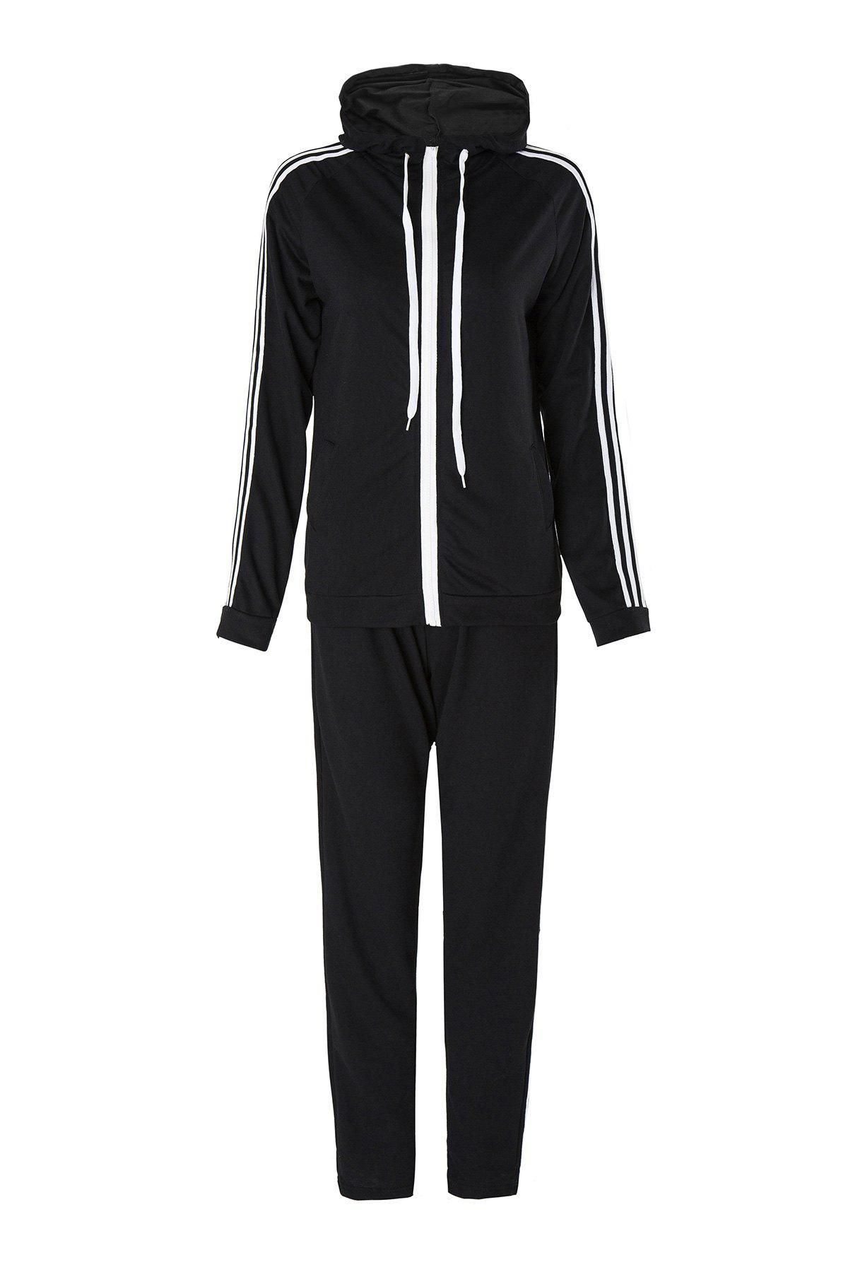 Active Long Sleeve Hooded Striped Jacket + Waist Drawstring Pants Womens Activewear SuitWomen<br><br><br>Size: M<br>Color: BLACK
