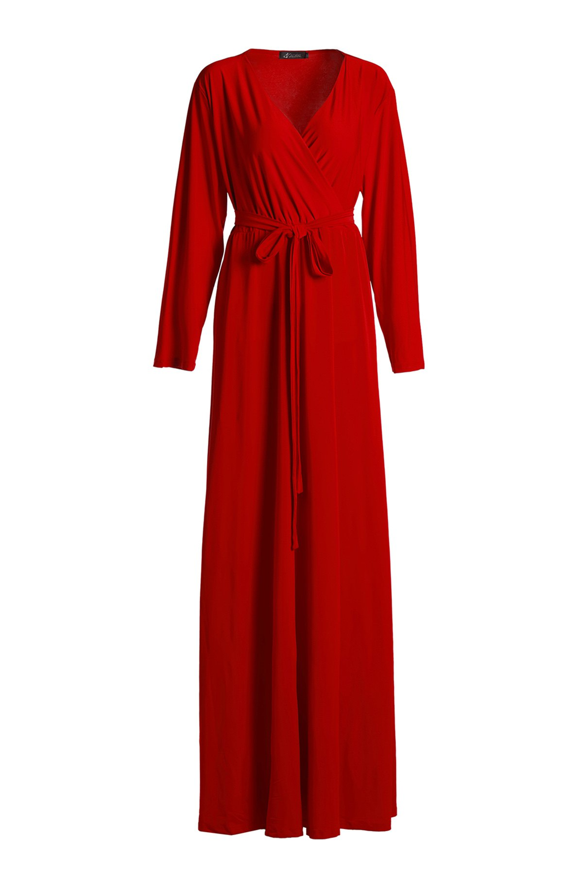 Stylish V-Neck 3/4 Sleeve Solid Color Plus Size Women's Dress - RED 2XL