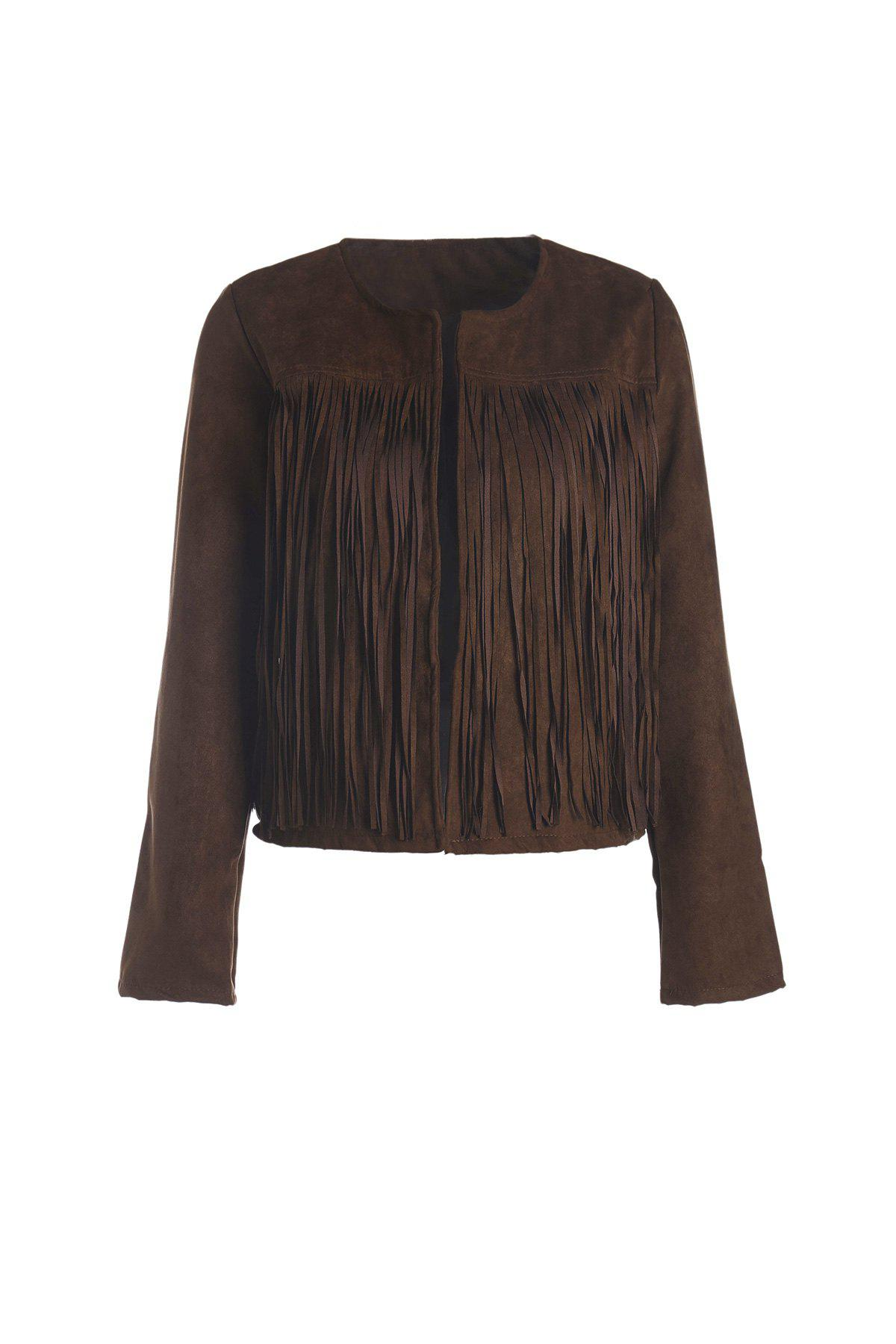 Stylish Round Neck Long Sleeve Fringed Solid Color Women's Jacket - COFFEE M