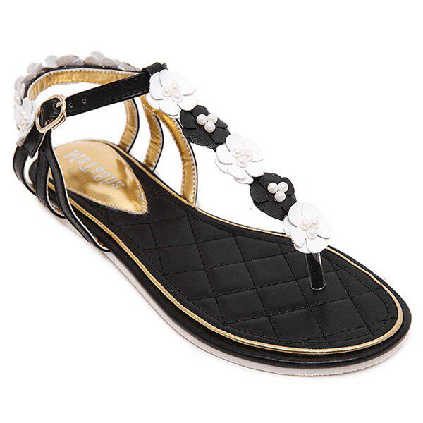 Sweet Faux Pearls and Color Block Design Women's Sandals - WHITE/BLACK 36