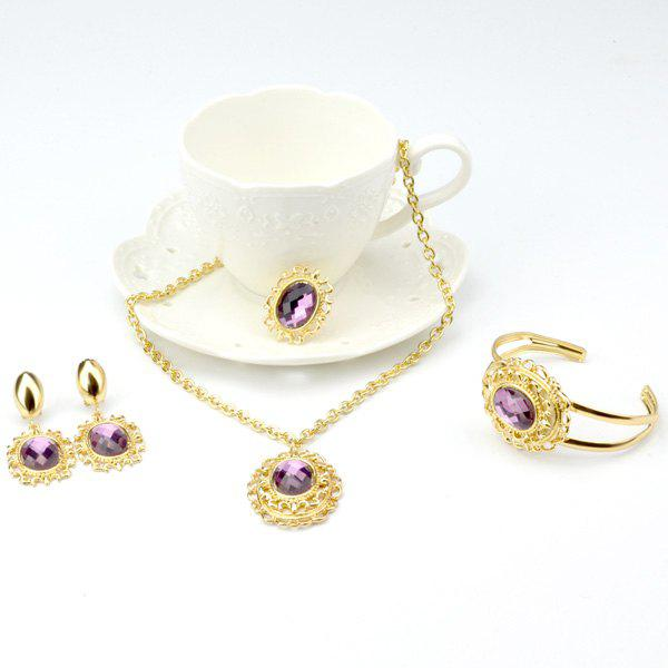 A Suit of Retro Style Oval Amethyst Necklace Bracelet Ring Earrings