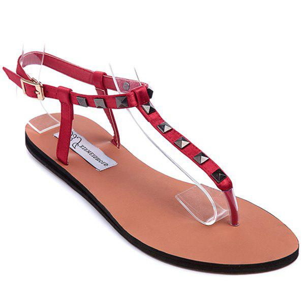 Leisure Flat Heel and Metal Rivets Design Women's Sandals - RED 36