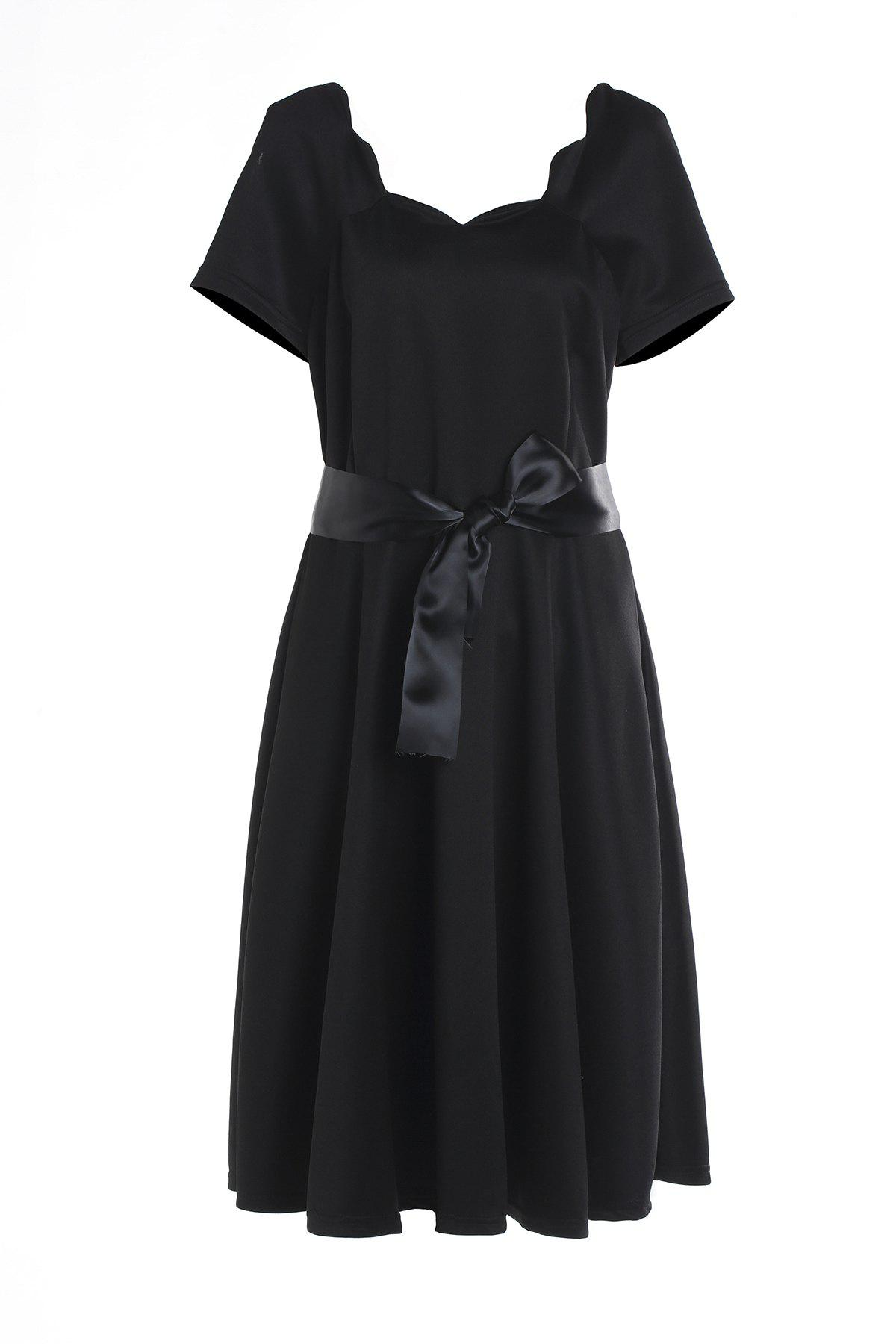 Vintage Style Short Sleeve Scoop Neck Womens Red Ball Gown DressWomen<br><br><br>Size: S<br>Color: BLACK