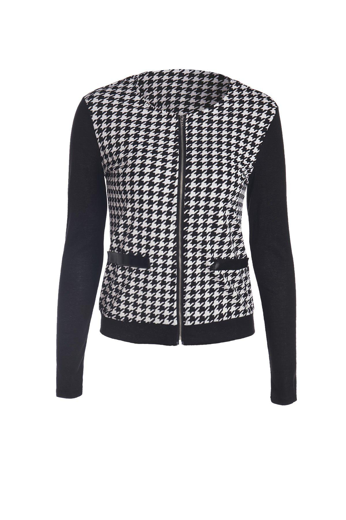 Stylish Color Block Houndstooth Printed Coat For Women - WHITE/BLACK L