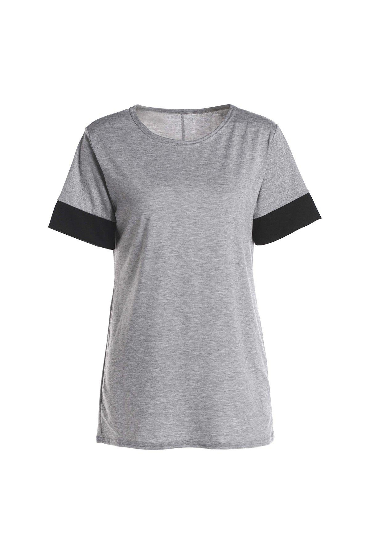 Simple Short Sleeve Scoop Collar Hit Color Women's T-Shirt - LIGHT GRAY S