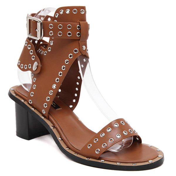 Fashion Chunky Heel and Hollow Out Design Women's Sandals - BROWN 39