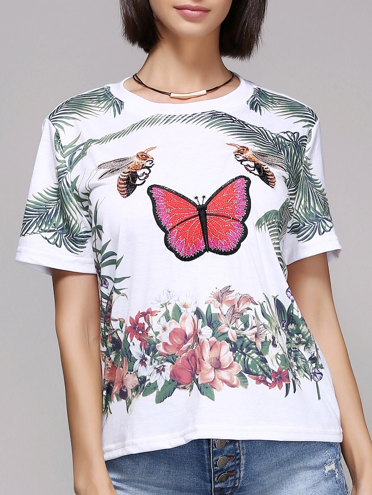 Stylish Butterfly Print Short Sleeve Round Neck T-Shirt For Women - WHITE L