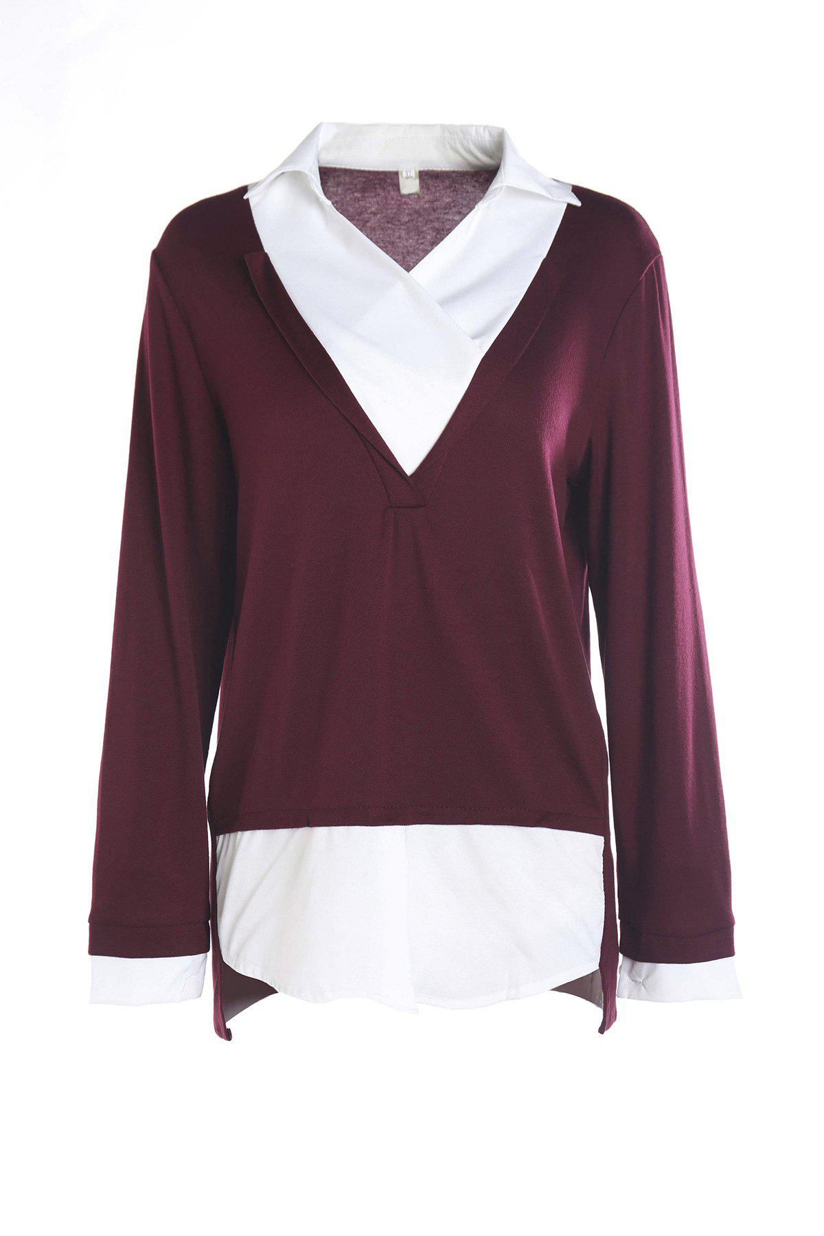 Stylish Shirt Collar Long Sleeve Faux Twinset Hit Color Women's Blouse - WINE RED XL