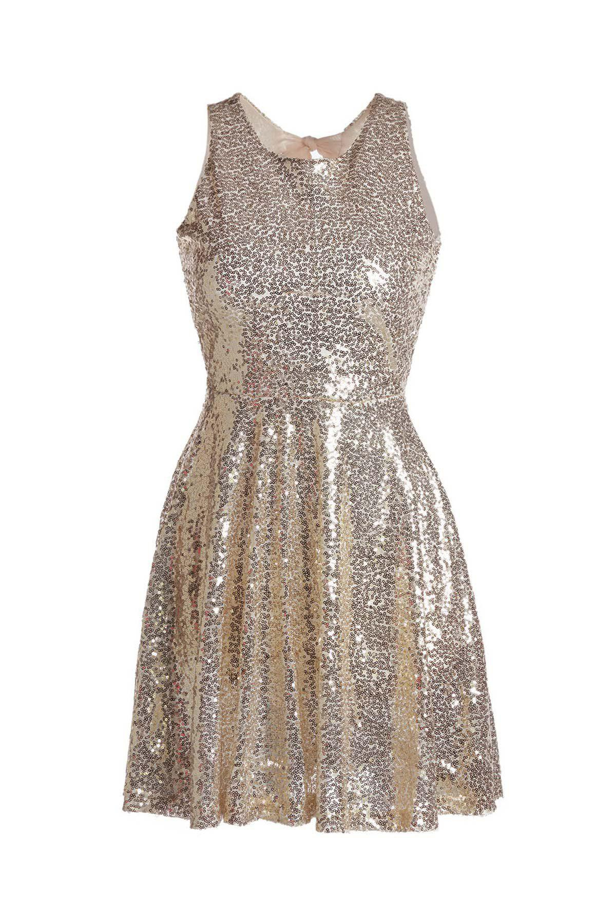 Attractive Open Back Sequined Sleeveless Mini Dress For Women - GOLDEN S