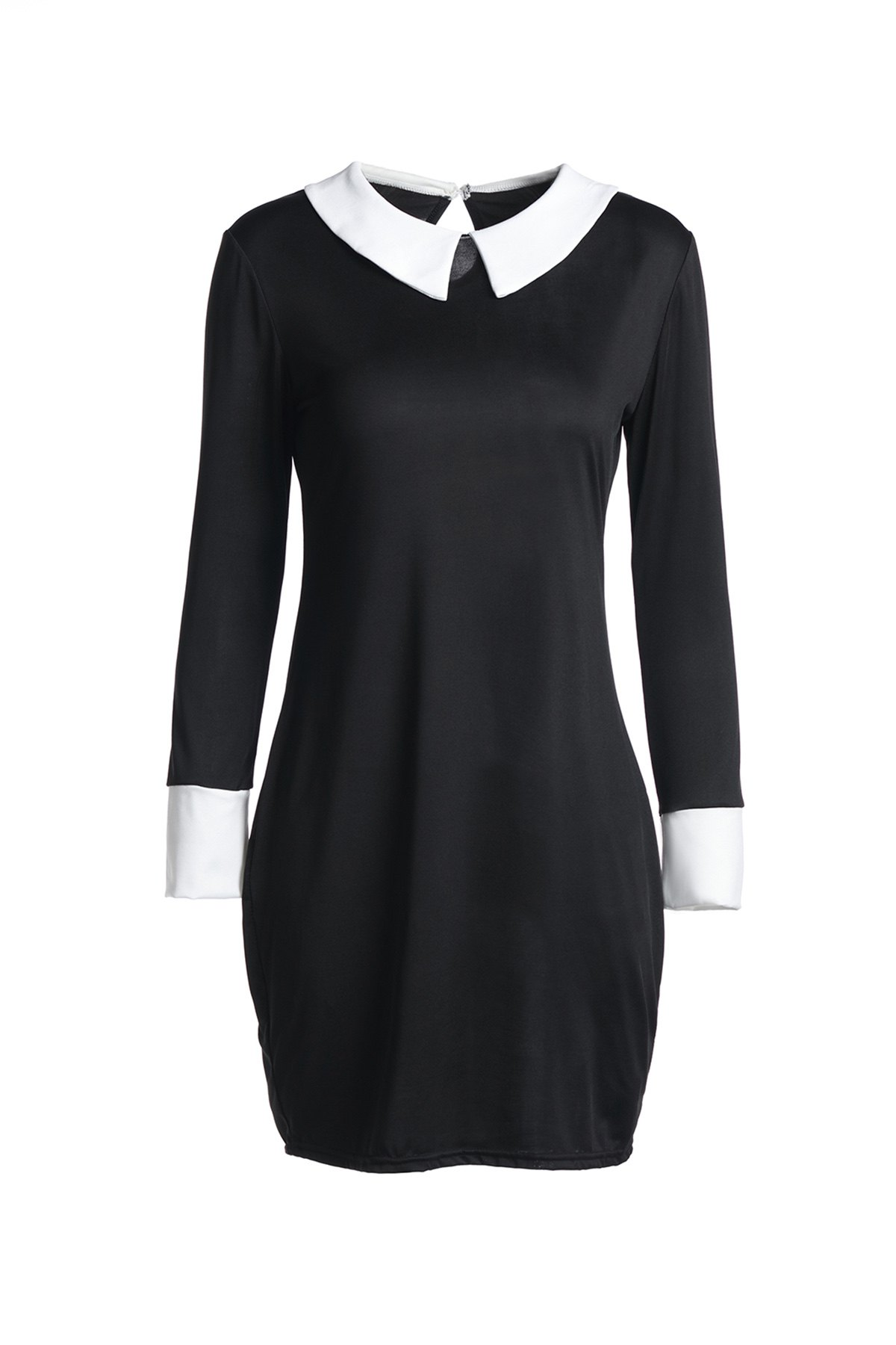 Fashion 3/4 Sleeve Flat Collar Hit Color Women's Dress - BLACK L