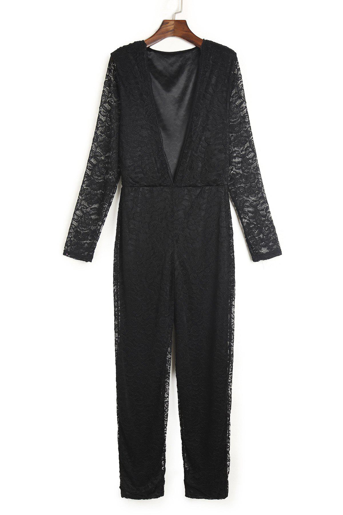 Trendy Plunging Neck Hollow Out See-Through Black Lace Jumpsuit For Women