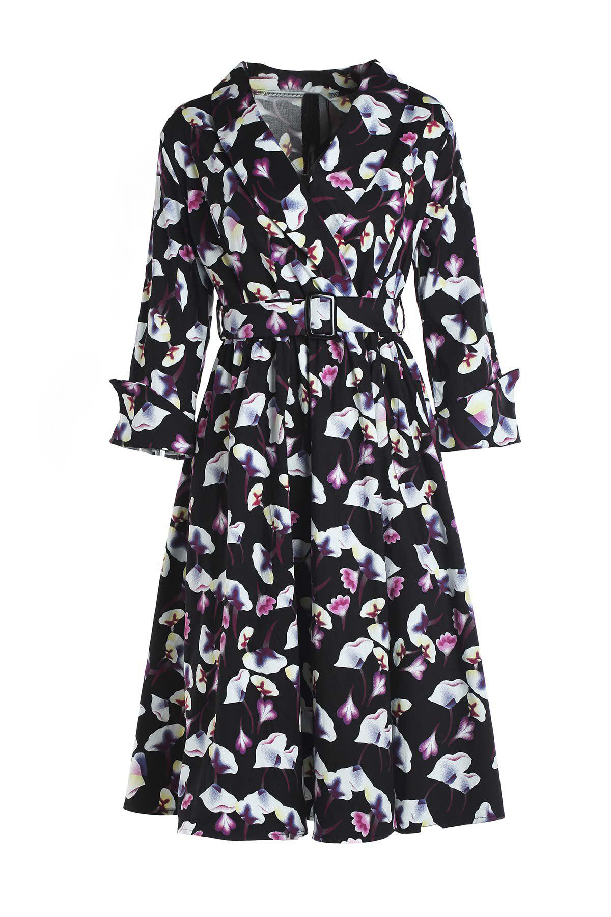 Vintage Style 3/4 Sleeve Shawl Collar Floral Print Women's Dress - BLACK M