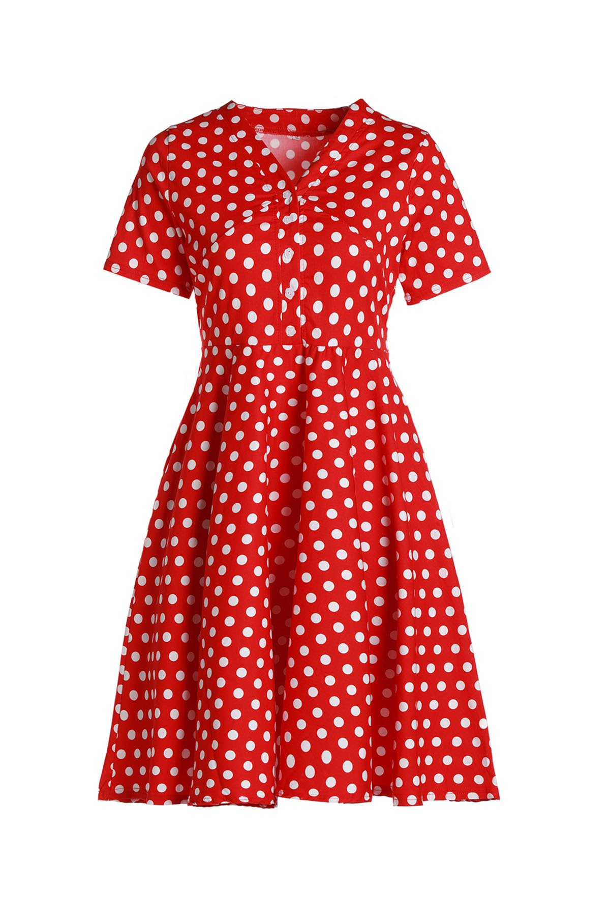 Sweet V-Neck Polka Dot Printed Flare Midi Dress For Women - RED L