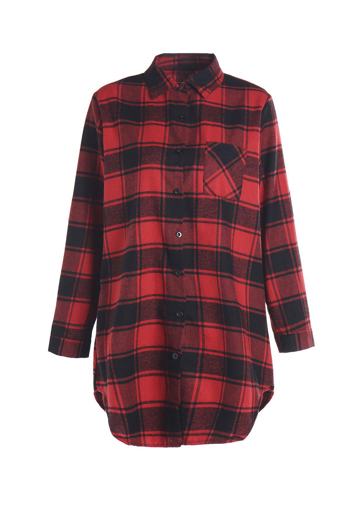 Stylish Shirt Collar Long Sleeve Gingham Number Print Women's Shirt - RED 5XL