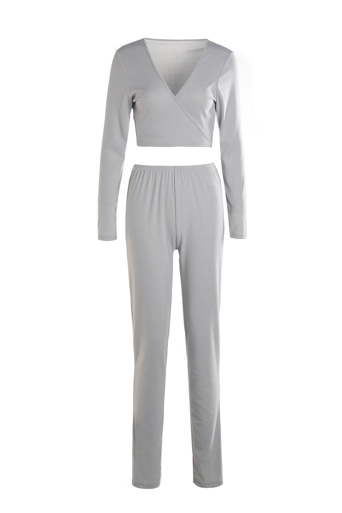Trendy Solid Color Plunging Neck Crop Top and Bodycon Pants Twinset For WomenWomen<br><br><br>Size: XL<br>Color: LIGHT GRAY