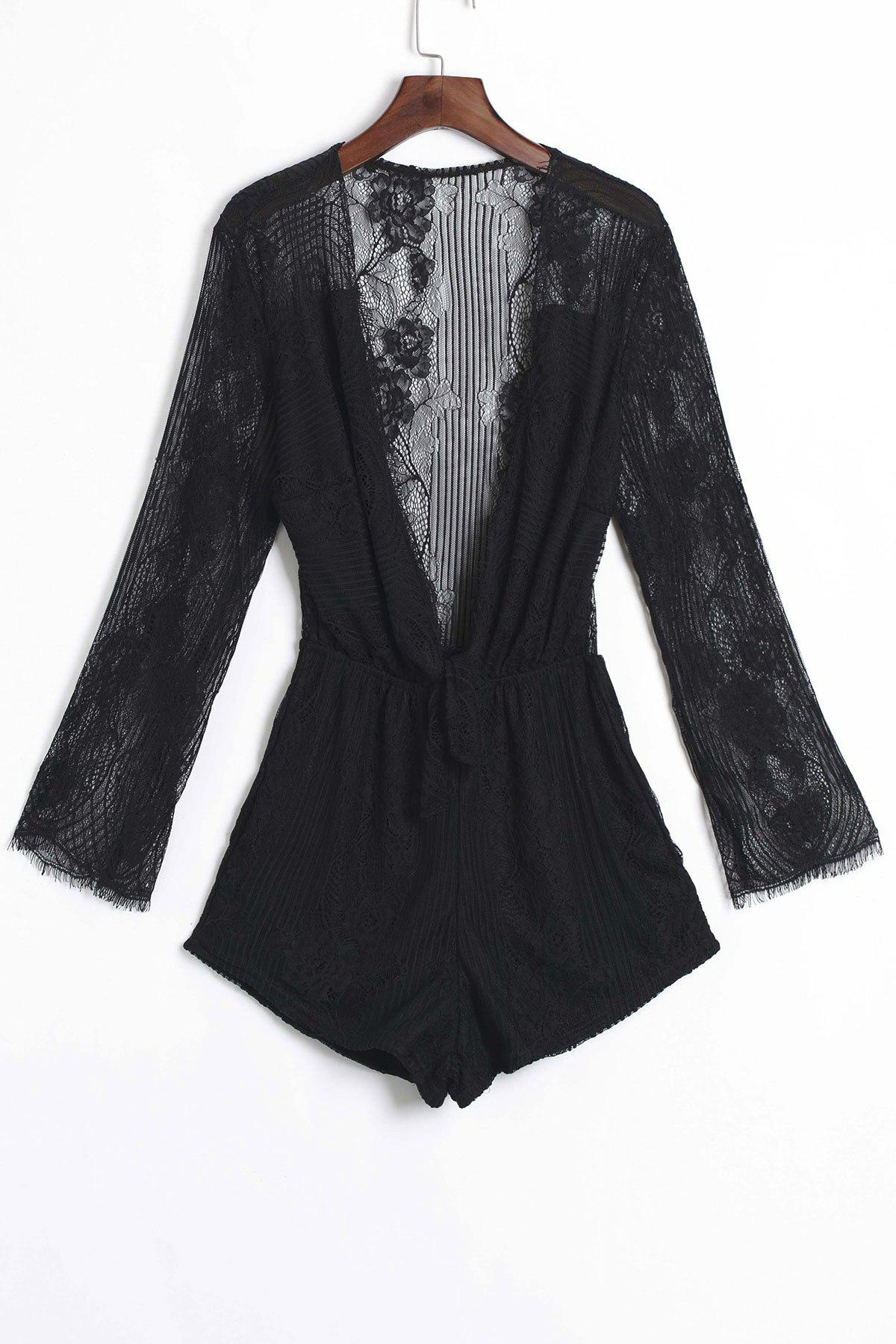 Sexy Plunging Neck See-Through Lace Spliced Flounce Romper For Women - BLACK ONE SIZE(FIT SIZE XS TO M)