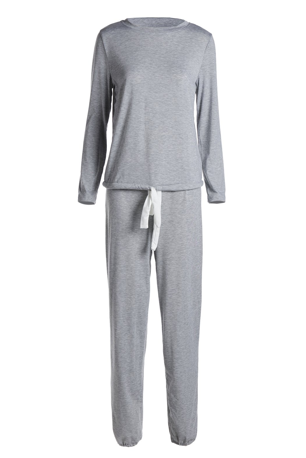 Casual Women's Scoop Neck Long Sleeve Top and Drawstring Pants Suit - GRAY XL