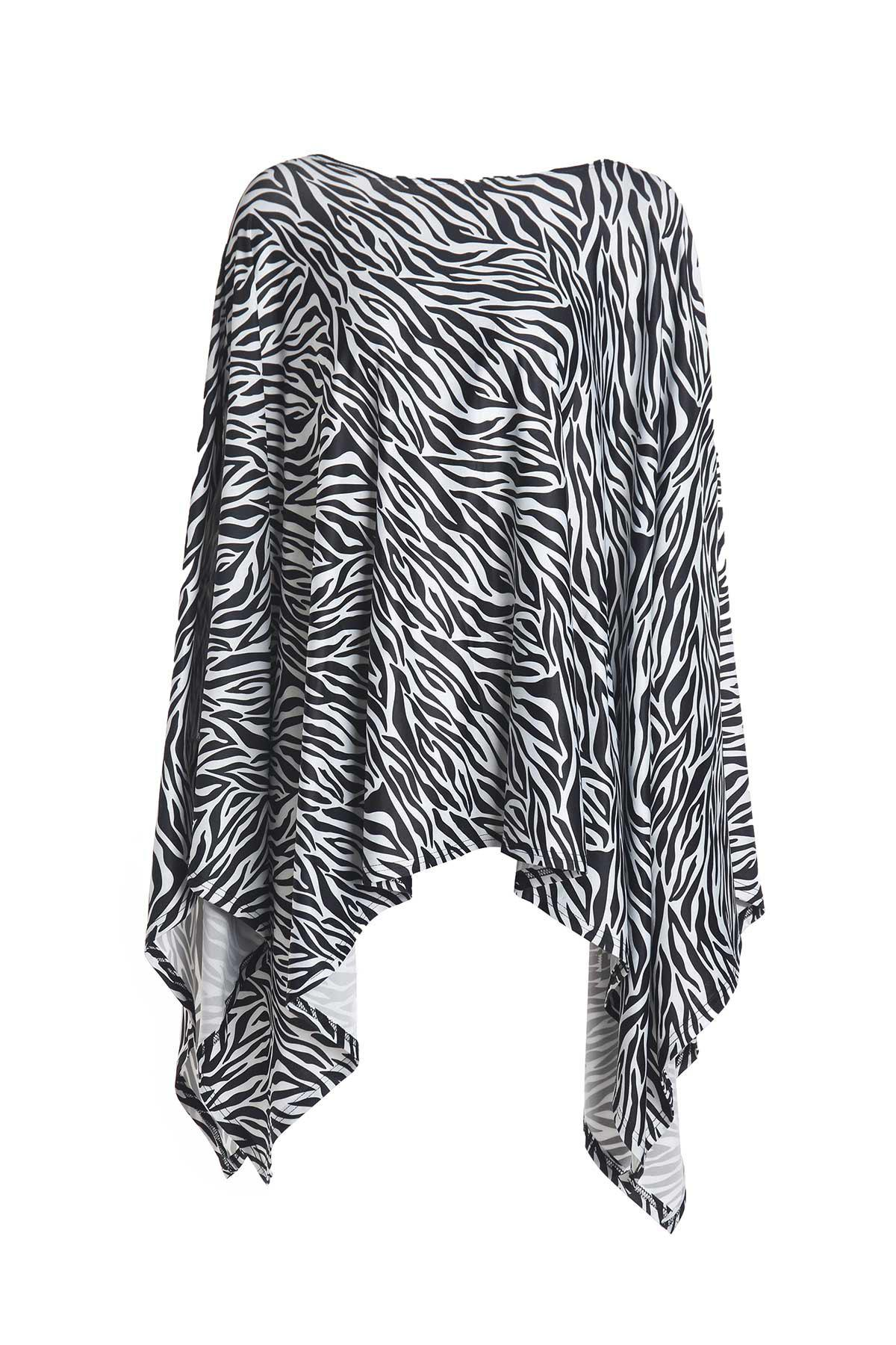 Fashionable Printed Skew Neck Irregular Cape Dress For Women