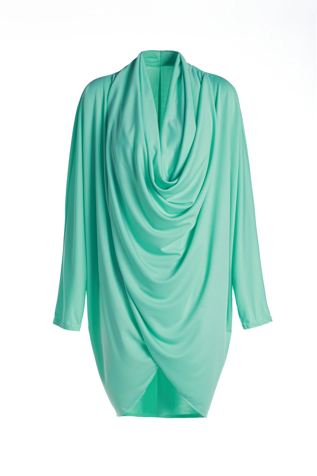 Cowl Neck Long Sleeve Pure Color Coat For Women alfani women s long sleeve marilyn cowl neck tunic sweater emerald 2x