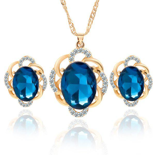 Hollow Out Oval Necklace and Earrings - BLUE