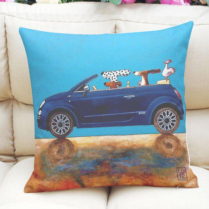 Vintage Puppys and Car Pattern Flax Square Shape Pillow Case (Without Pillow Inner) - WATER BLUE