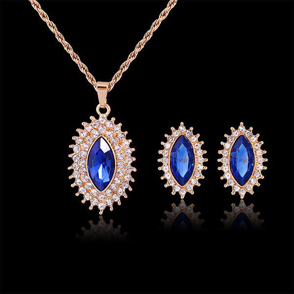 A Suit of Rhinestoned Oval Necklace and Earrings - BLUE