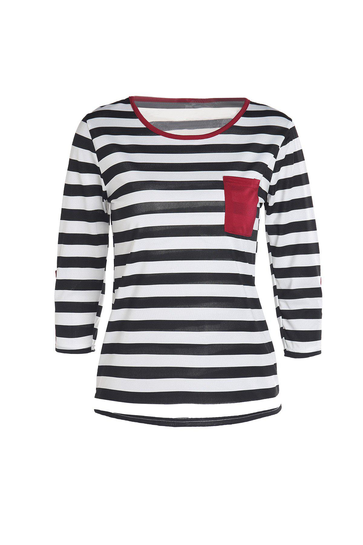 Stylish Scoop Neck Stripe Print Button Embellished 3/4 Sleeve Women's T-Shirt - STRIPE S