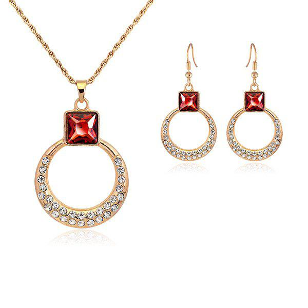 Alloy Circle Rhinestone Necklace and Earrings - RED