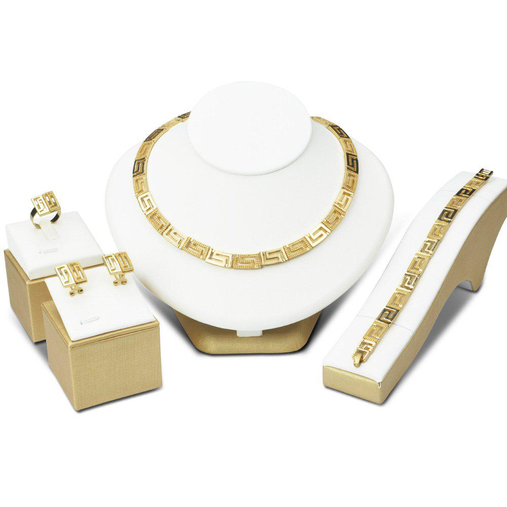 A Suit of Geometric Gold Plated Necklace Bracelet Ring Earrings