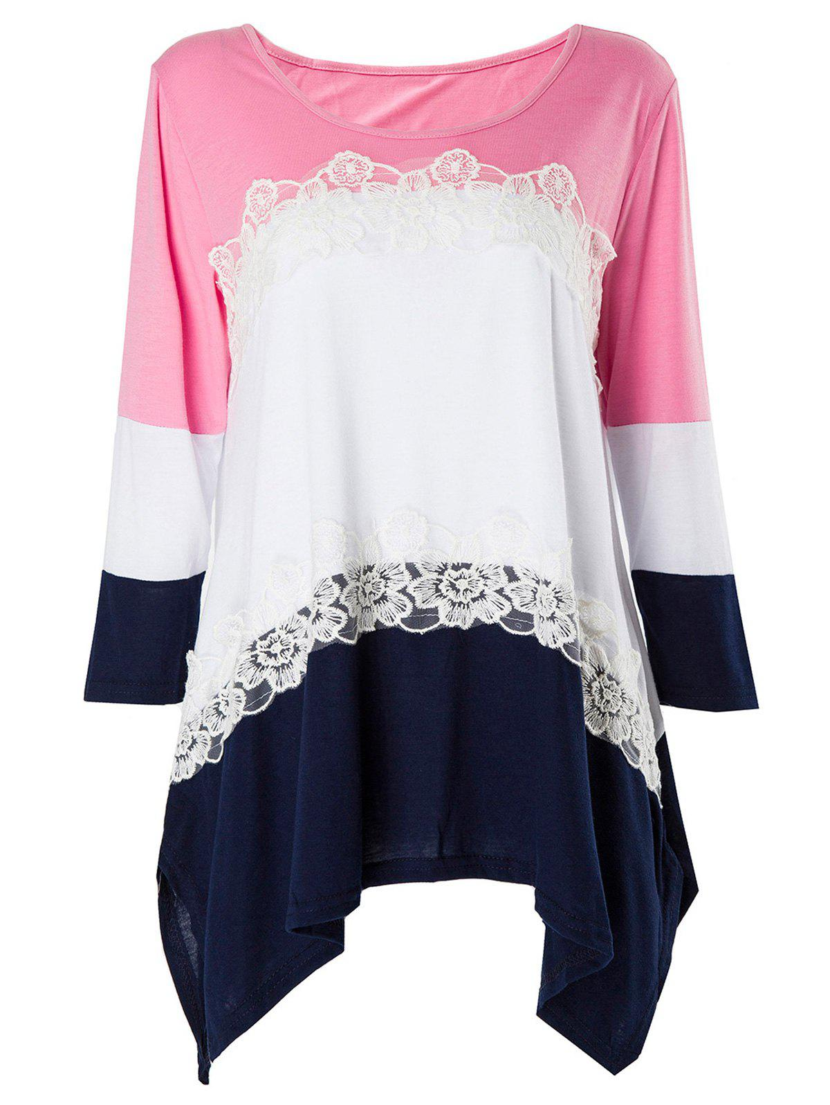 Stylish 3/4 Sleeve Scoop Neck Asymmetrical Color Block Womens T-ShirtWomen<br><br><br>Size: L<br>Color: PINK