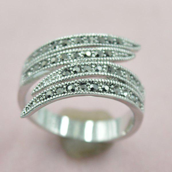 Leaf Rivet Decorated Opening Ring - SILVER ONE-SIZE