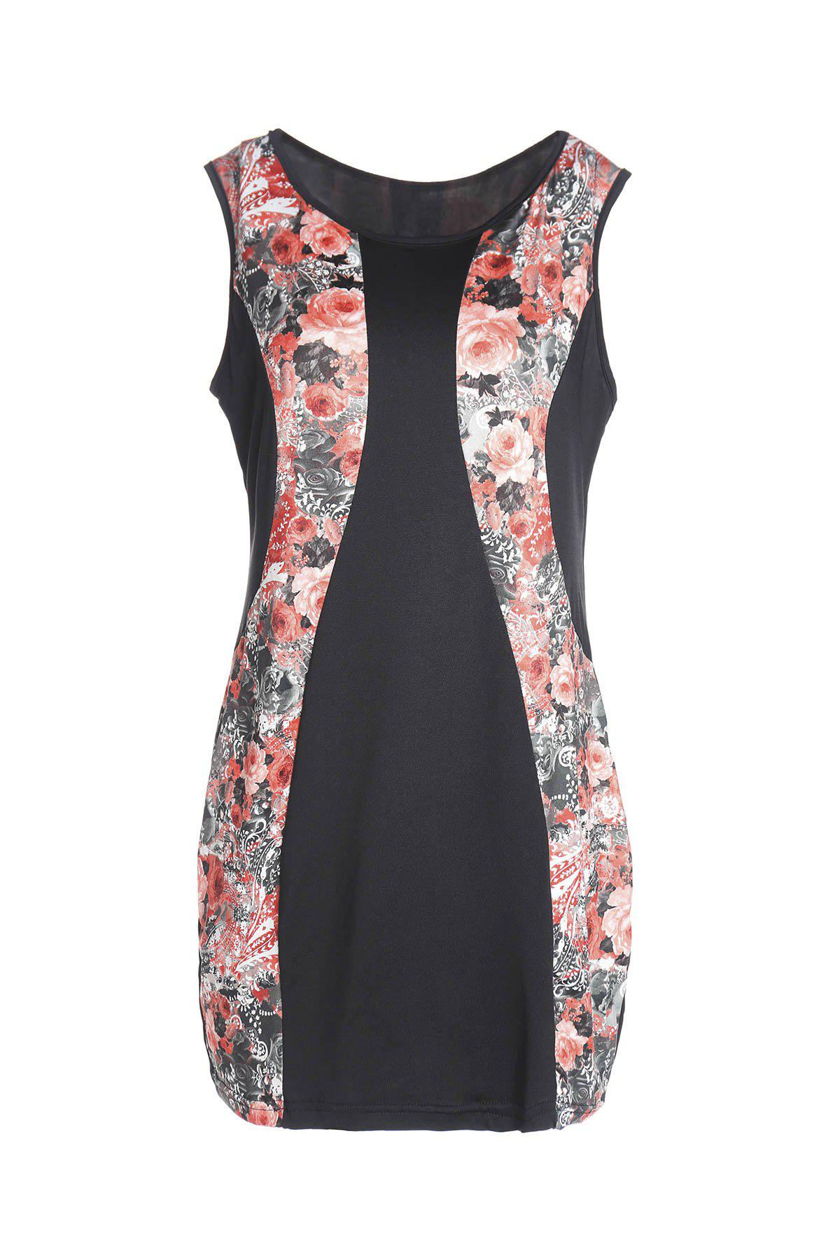 Charming Red Floral Print Sleeveless Bodycon Mini Dress For Women - RED 2XL
