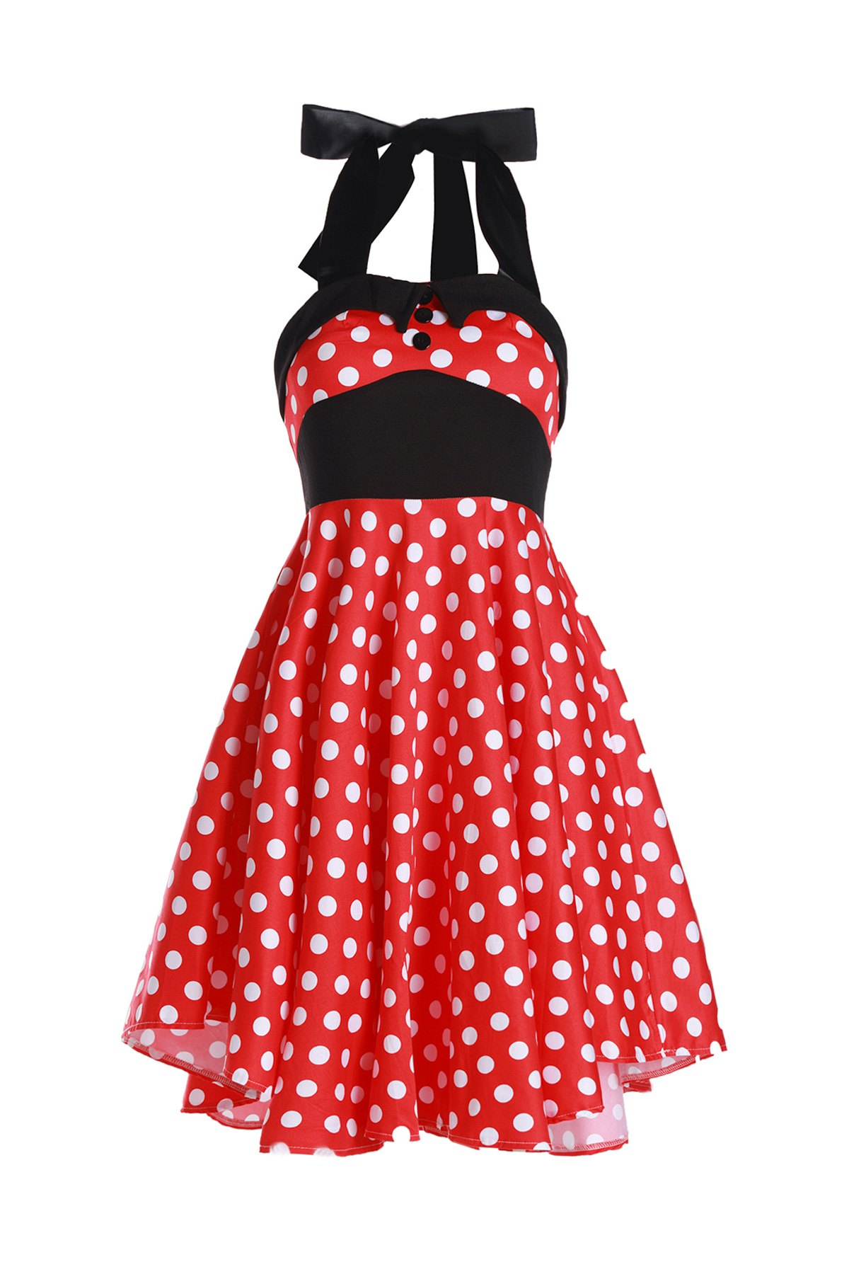 Vintage Women's Halterneck Polka Dot Print A-Line Dress - RED M
