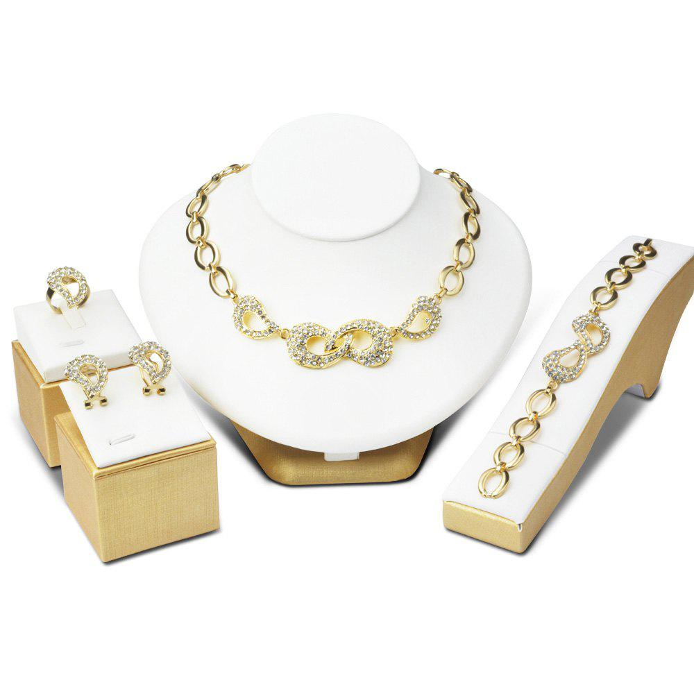 A Suit of Bowknot Hollow Out Rhinestone Necklace Bracelet Ring Earrings - GOLDEN